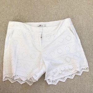 White textured shorts